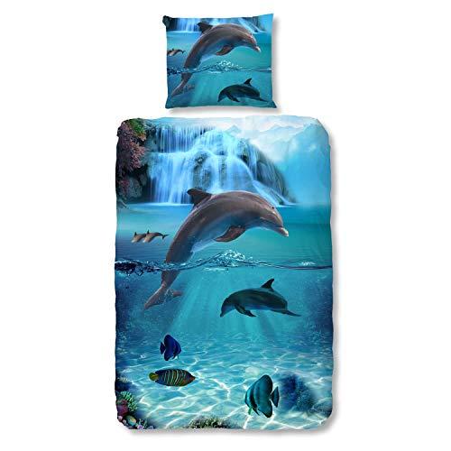 Good Morning Bettwäsche Set 5586 Will Blue Blau 2tlg Baumwolle Delfine Fische Meer Ozean