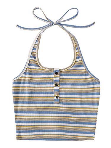 SweatyRocks Women's Casual Sleeveless Vest Halter Crop Top Cami Tank Tops Blue L