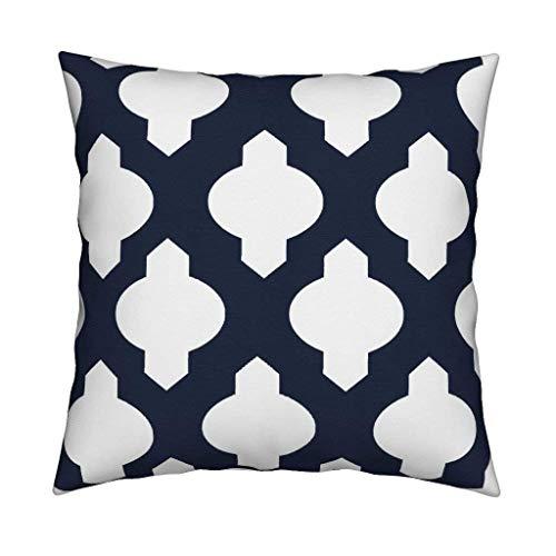 nonbrand 45x45cm Quatrefoil Throw Pillow Moroccan Trellis White On Navy Modern Trellis 18x18Inch Square Throw Pillow