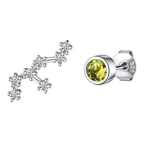 ChicSilver Sternbild-Ohrstecker aus 925 Jungfrau Ohrringe mit Peridot Stein Damen Silber Ohrschmuck für Braut und Brautjungfrau
