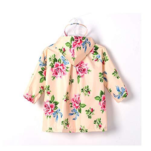 SUIWO Kinder-Regenkleidung Regen Anzug leichte wasserdichter Mandel Blumen-Kind-Baby-wasserdichter Mantel Raincoat Licht atmungsaktiv (Color : Almond, Size : M)