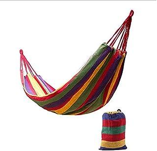 Dubbel hängmatta 205 kg bärbar resa camping hängande hängmatta gunga lat stol kanvas hängmattor utomhusmöbler - röd 2, Aus...