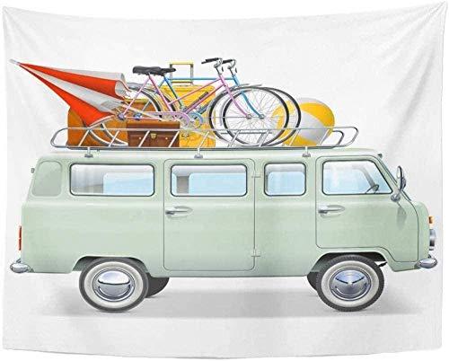 JXZIARON Tapiz Art Paño para Colgar en la Pared Impresión HD Cocina Dormitorio Sala de Estar Decoración,Coche Retro Minibus Dormitorio 150x100cm