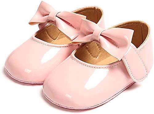 Ortego Niemowlęta dziewczęce buty księżniczki kokardki małe dzieci antypoślizgowe baleriny na imprezę, różowy - różowy - 12-18 Miesi?cy