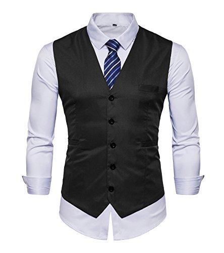 Chaleco de AYS, para hombre, entallado, liso, para traje, de estilo informal, tallas de M a 3XL Negro black#VE03 40