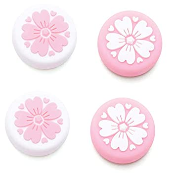 LightPro Switch Thumb Grip Caps Joystick Cap for Nintendo Switch and Switch Lite Cute Sakura Flower Soft Silicone Analog Stick Cover for Joy-Con Controller  Pink