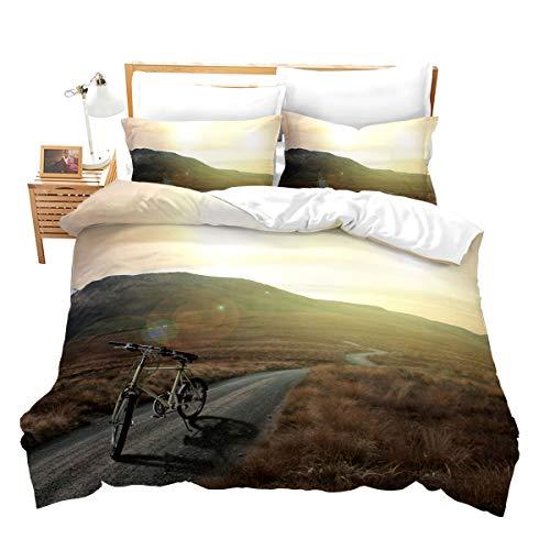 Loussiesd 3D Landschaft Bettwäsche Set 2 Teilig 155x220 cm Microfaser Bettbezug Set für Jungen Mädchen Prairie Hochebene Fahrt Fahrrad Betten Set mit Reißverschluss und 1 Kissenbezug 80x80 cm
