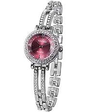 Time100 ダイヤモンド付き スケルトンバンド 30M防水 腕時計 ブレスレット レディース W50281L