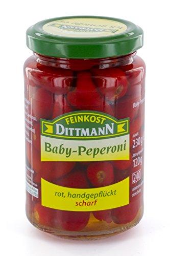 Feinkost Dittmann Baby Peperoni rot, handgepflückt, scharf, 6er Pack (6 x 230 g)