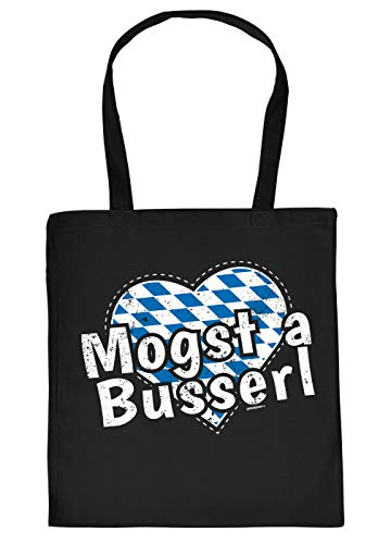 Oktoberfest/Volksfest Stofftasche - bayrischer Dialekt Mundart : Mogst a Busserl - Baumwolltasche Trachten-Tasche - Farbe: Schwarz