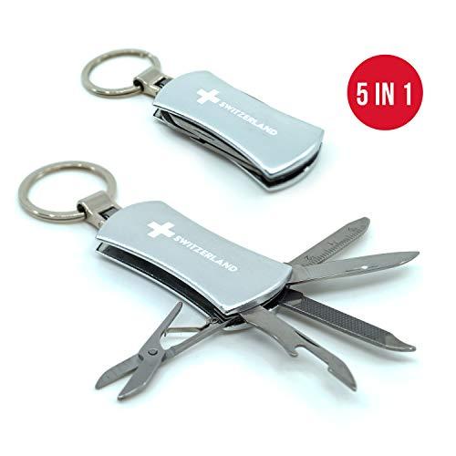 TopSpirit® Schlüsselanhänger Multitool 5 in 1 Silber - Multi Tool mit Messer, Flaschenöffner, Nagelfeile, Lineal und Schere - 5.5 cm