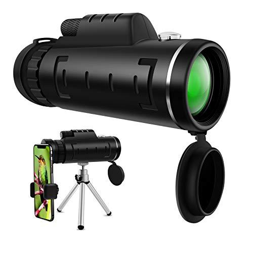 Telescopio Monoculare ZB ZealBoom Telescopio Monocolo 40x60 Telescope Impermeabile Monocolo con Clip per Smartphone & Treppiedi Portatile Monocular per Viaggi Osservazione Uccelli Caccia Arrampicata