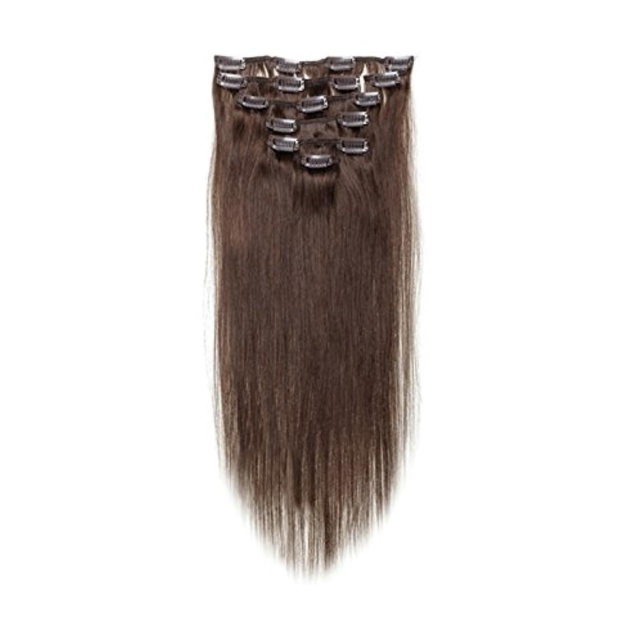 牛記念品オリエンタルヘアエクステンション,SODIAL(R) 女性の人間の髪 クリップインヘアエクステンション 7件 70g 20インチ ダークブラウン