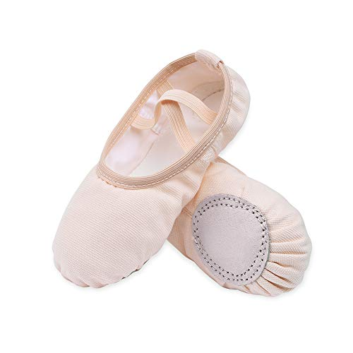 STELLE Girls Canvas Ballet Slippers Flats, Leather Soles Dance Shoes for Toddler Little Kid (BP, 11ML)