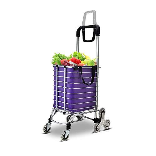 HUO Leichter Warenkorb Trolleys for Den Supermarkt Tragen Und Falten Mit Einem Dreiecksrad Einfach Zu Verstauen GEH Nach Oben (Color : Purple)