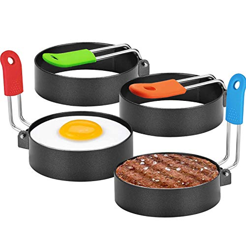 Newthinking Eggs Rings, 4 Pack Stainless Steel Egg Cooking Rings with Anti-Scald Handle Pancake Mold for Frying Eggs, English Muffins Pancake Cooking Griddle (Colorful)