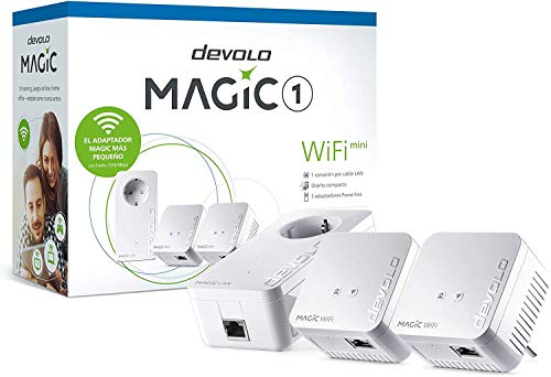 devolo Magic 1 – 1200 WiFi mini Multiroom Kit: Set compacto con 3 adaptadores Powerline para WiFi en habitaciones (1200 Mbit/s, 2 x conexiones Fast Ethernet LAN, WiFi de malla, G.hn)