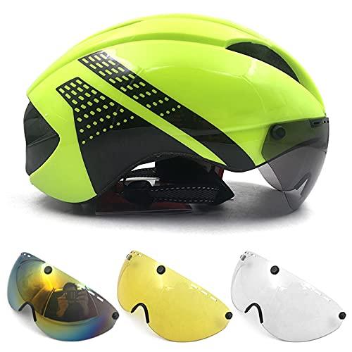 Casco Bici Yuan Ou Casco aerodinamico tt crono casco da ciclismo per uomo donna occhiali da corsa casco bici da corsa con lente M verde nero 4 lenti