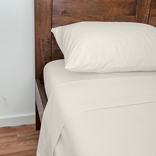Homescapes cremeweißes Bettlaken aus 100% Flanell, Fadendichte 180, Single 180 x 260cm