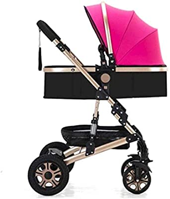 Dpliu Baby Btroller cochecito de bebé con asiento horizontal paraguas, portátil, plegable, bidireccional, 4 ruedas, amortiguador de choque para recién nacidos, pantalla de viaje triciclo