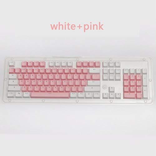 PBT translúcido retroiluminado nombres de teclas de 104 teclas teclado mecánico del Cabo doble disparo Para clave cereza Cap MX,Rosa blanca