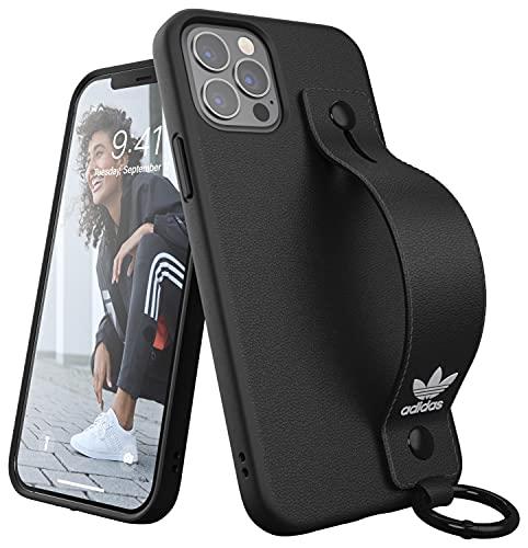 adidas Hoes ontwikkeld voor iPhone 12 / iPhone 12 Pro 6.1, polsriem, valgeteste hoezen, schokbestendige verhoogde randen, originele beschermhoes, zwart