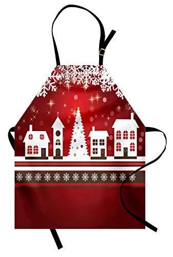 ABAKUHAUS, Weihnachten Kochschürze, Maschienenwaschbar Wasserdicht kein Verblassen, EIS Kristall Muster Über Tannenbaum und der Stadt Heiligen Abend