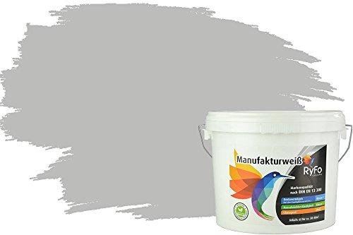 RyFo Colors Bunte Wandfarbe Manufakturweiß Perlgrau 6l - weitere Grau Farbtöne und Größen erhältlich, Deckkraft Klasse 1, Nassabrieb Klasse 1