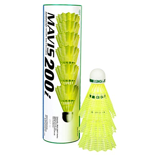 Yonex Mavis 200i Nylon Shuttle Cock, Pack of 6 (Yellow)