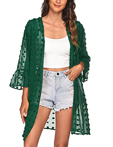 Women's 3/4 Sleeve Kimono Cardigans Coverup Cute Swimsuit Cover Ups Green