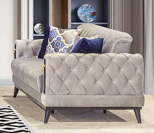 Casa Padrino sofá Cama Chesterfield Gris/Negro/Oro 222 x 90 x A. 80 cm - Sofá de salón Moderno - Muebles Chesterfield - Muebles de Salón