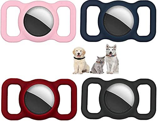 YOUERLF Funda Protectora de Silicona para Mascotas para Apple Airtag GPS Finder Dog Cat Collar Loop,[4] Silicona Carcasa para Localizador Antipérdida,Pet Loop Holder para Air_Tag