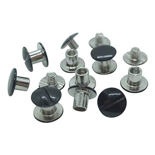 25 Stück - Buchschrauben (schwarz, Höhe: 5 mm, Ø Kopf: 10 mm, Ø Schaft: 5 mm)