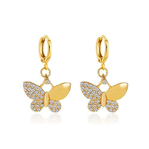 Janly Clearance Sale Women Earrings , Metal Temperament Gold Animal Delicate Ladies Full Diamond Earrings Jewelry Gift , Valentine's Day Birthday Jewelry Gifts for Ladies Girls (Gold)
