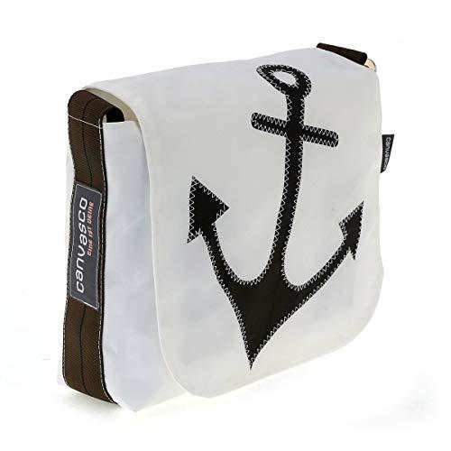 Messenger Bag CANVASCO Mini/Tasche weiß/Gurt braun-schwarz/Motiv Anker schwarz