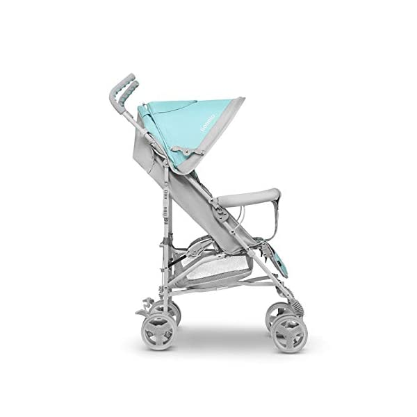 Lionelo Elia Buggy Small Folding Pushchair Buggy up to 15 kg Back and Footrest Adjustment Rear Wheel Brake Mosquito Net Leg Warmer Rain Cover Shopping Basket Lionelo Safe and handy. The Elia pushchair has a simple folding system. Does not need much space after folding. Folding the buggy takes only a few seconds, with a carry handle and the weight of only 7 kg, ideal for travel, on the train or in the car boot. Features: Complete set with mosquito net, leg warmer and rain cover, spacious storage basket, back and footrest adjustment, handle height at 105 cm. Swivel lock and rear brake. On the rear axle there is a comfortable and quick to use brake that is operated with one foot. The front wheel has a swivel lock that helpfully holds a steady course on uneven terrain. 8