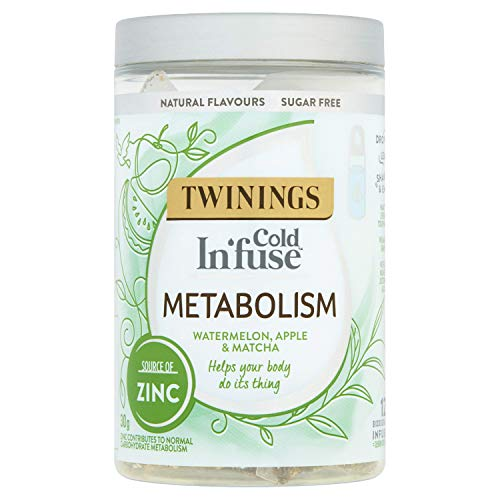Twinings Cold Infuse Metabolism, Watermelon, Apple & Matcha flavour with added Zinc, Jar of 12 Infusers