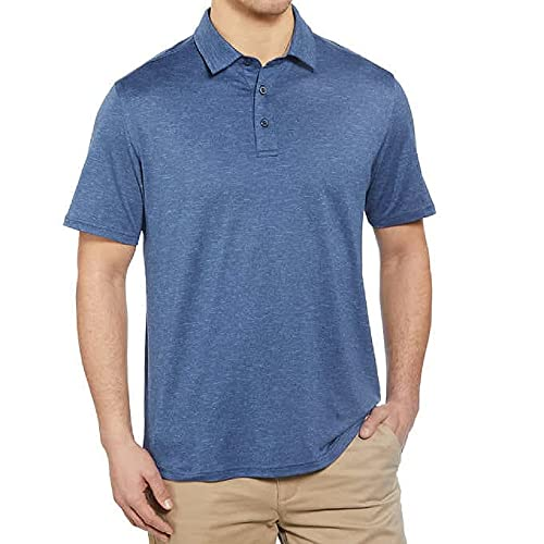 G.H. Bass & Co. Men's Short Sleeve Cooling Stretch UPF 50 Polo (Navy Blazer Heather, X-Large)