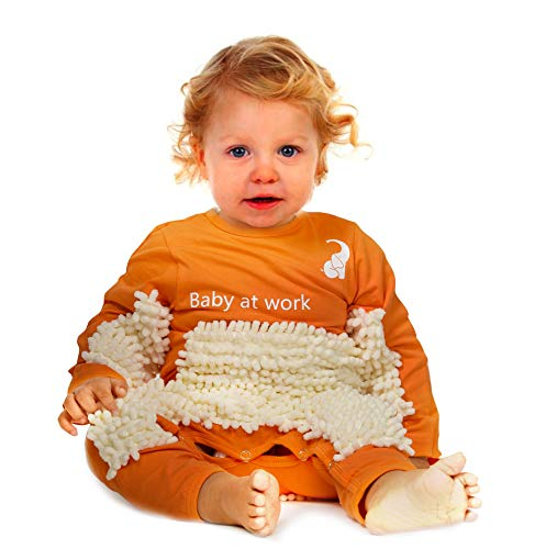 Cute Baby Mop Onesie - Funny and Functional, Perfect as a Long Sleeve Romper for Your Crawling Baby and for Use as an Everyday Baby Jumpsuit. Great as (Orange, 12-18 Months)