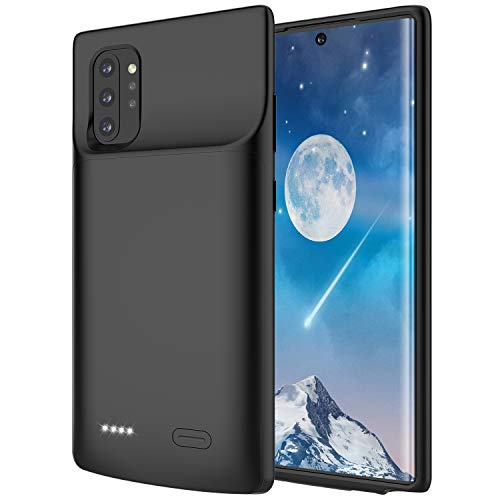 RUNSY Battery Case for Samsung Galaxy Note 10+ Plus 5G, 6000mAh Rechargeable Extended Battery Charging Charger Case with Raised Bezel, Add 100% Extra Juice (Black)