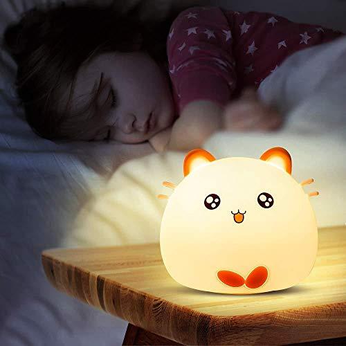 Luces nocturnas de gel de sílice, lámpara de guardería para bebés, segura para amamantar, resistente a roturas, cuidado de los ojos, brillo y color ajustables, control remoto + control táctil, ciervo