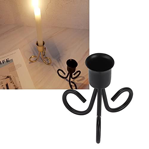 Oure Portacandele Nordico, candelabro in Ferro battuto retrò in Ferro per la Decorazione di Nozze del Festival del Bar di casa(Nero)