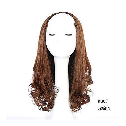 Bin Zhang Perruque de style de la mode européenne et américaine vraiment grande perruque perruque cheveux rouleau de cuir chevelu femme (Color : Brown black)