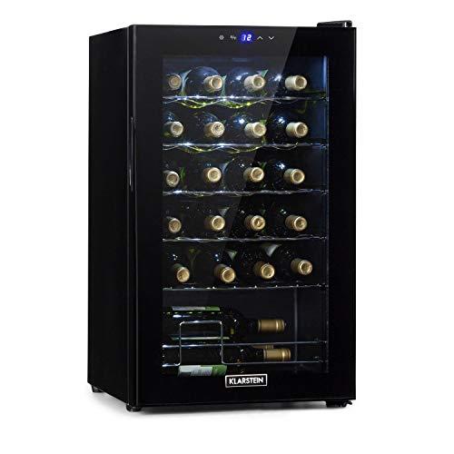 Klarstein Shiraz Uno - Weinkühlschrank, Temperaturen: 5-18 °C, 42 dB, Soft-Touch-Bedienfeld, 5 Regaleinschübe, Platz für 24 Flaschen Wein, Volumen: 67 Liter, schwarz