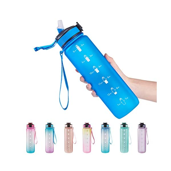 EYQ 32 oz Water Bottle with Time Marker, Carry Strap, Leak-Proof Tritan BPA-Free,...