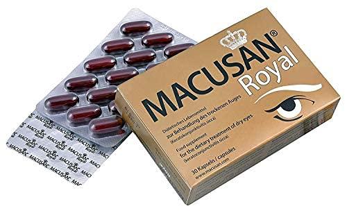 Macusan Royal – Augen Kapseln gegen trockene Augen und Senken das altersbedingte Makuladegeneration (AMD) Risiko | Omega-3, Lutein und Zeaxanthin 30 Kapseln