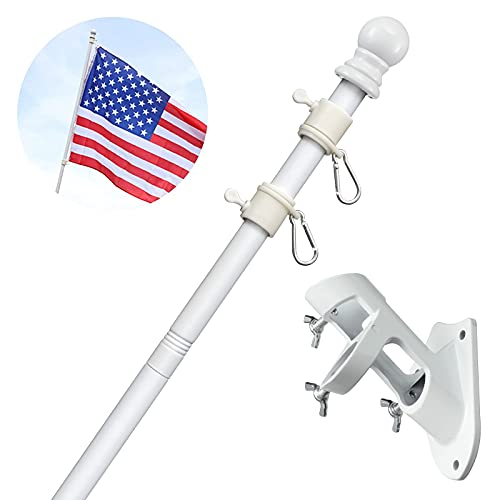 White Flag Pole Kit for House-5ft House Flag Poles with Tangle Free Spinning Grommets-Porch Flag Pole Kit with Bracket for Outside,Flagpole Kit Residential and Commercial Use