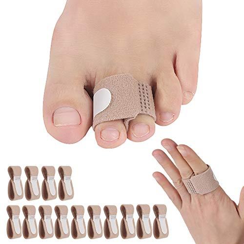 14 Pieces Broken Toe Wraps, Cushioned Bandages, Hammer Toe Separator Splints, Toe Straight, Hammer Toe Wrap, Cushioned Corrector, for Broken Toe, Hammer Toe