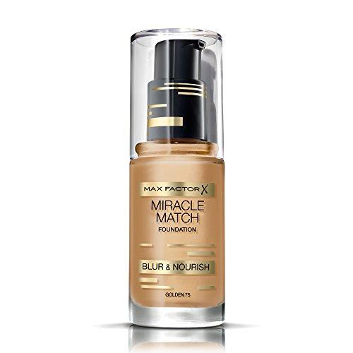 Max Factor Miracle Match Foundation Golden 75 – Flüssig Foundation mit Weichzeichner-Effekt – Passt sich jedem Hautton an – 1 x 30 ml
