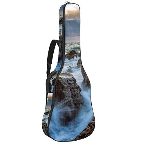 Storm Rocks Water Waves - Bolsa de guitarra con correas para el hombro, funda acolchada impermeable, bolsa de concierto para guitarra acústica y clásica.